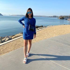 TOPSHOP Blue & Black Sweater Terry Texture Dress